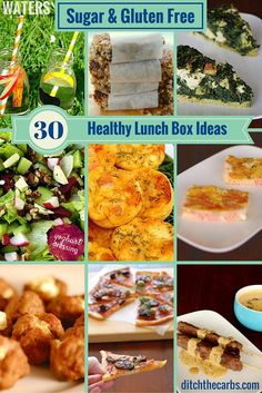 Look at these amazing healthy, sugar free, gluten free and nutritious ideas for lunches - school or work. The ultimate healthy lunch box ideas has it all. They also have a 1 month guide to children's lunch boxes to see and get ideas.| ditchthecarbs.com via @ditchthecarbs