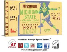1941 #MichiganState #MSU #Spartans vs. #Missouri #Mizzou #Tigers #footballart #47STRAIGHT #CyberMondayDeals #CyberMondayGifts #CyberMonday #sports #gifts #home #office #mancave 47 STRAIGHT.™ America's Best Football Gifts.™ Made from over 2,400 historic football tickets.