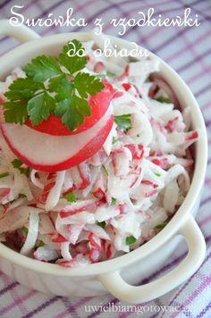 Surówka z rzodkiewki do obiadu Raw Food Recipes, Vegetable Recipes, Low Carb Recipes, Salad Recipes, Healthy Recipes, Polish Recipes, Polish Food, Potato Salad, Side Dishes