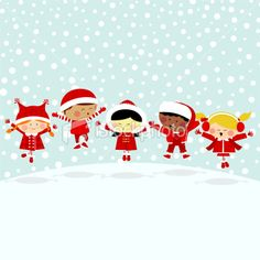 Kids in the snow.Multicultural Royalty Free Stock Vector Art Illustration