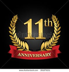golden anniversary logo, 11 years anniversary celebration with ring and ribbon. 20th Anniversary Wedding, Anniversary Wishes For Parents, 11 Year Anniversary, Anniversary Logo, Golden Anniversary, Ribbon Logo, Red Ribbon, 13th Birthday Parties, Birthday Celebration