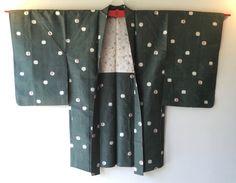Vintage Japanese Kimono Haori Jacket Meisen Silk green dot