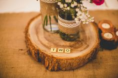 Wedding reception table numbers, scrabble!