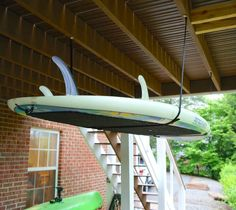 An adjustable, heavy-duty nylon ceiling storage strap system for paddleboards and SUPs.