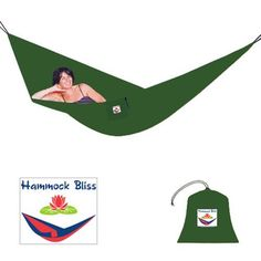 Hammock Bliss Single Portable Hammock, Forest Green by Hammock Bliss. $38.95. Stunningly comfortable, this hammock conforms to your body with no pressure points or rope marks; Experience blissful relaxation anywhere. Compact, lightweight & ready for adventure; the travel bag is permanently attached & doubles as a handy gear pouch. 100% Nylon. Constructed of high strength nylon parachute material; soft and breathable, quick drying, and resists rot and mildew. Incl...