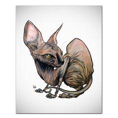Cat Caricature Fine Art Print -Sphynx 1 – JohnLaFree.com