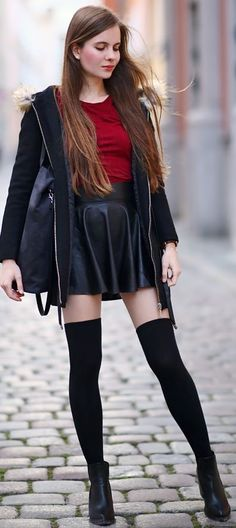 Black jacket with hood, leather skirt, socks and Jodhpur boots | Help I have Nothing To Wear #black