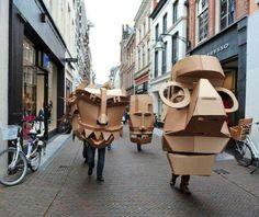 Cardboard Costume, Cardboard Mask, Cardboard Sculpture, Cardboard Paper, Cardboard Crafts, Sculpture Art, Sculptures, Paper Clay, Puppet Costume