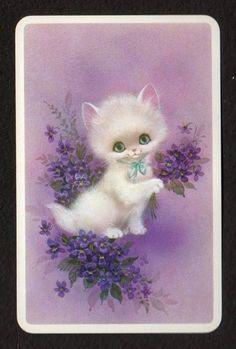 Vintage Swap Card - Gorgeous White Kitten & Flowers