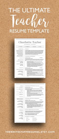 Teacher Resume Template for Word \ Pages (1, 2 and 3 Page Resume - my first resume template