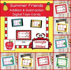 My Summer Friends Addition and Subtraction Digital Task Card set includes 40 task cards which are accessed via Google Slides. Each digital task cards focuses basic addition and subtraction facts 0-12. All task cards are accented with bright colors and summer themed graphics.   #mca3designs #tpt #teacherspayteachers #digitaltaskcards #distancelearning #addition #subtraction #mathfacts #firstgrade #secondgrade #taskcards #math #iteachtoo #digital
