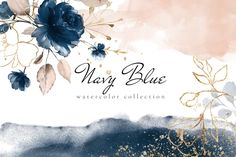 Navy Blue - Watercolor collection This set include: + 18 PNG - floral arrangements + 23 backgrounds - 2 JPEG and 21 PNG + 19 PNG - gold frames and geometrical shapes + More 50 PNG - floral Creative Illustration, Watercolor Illustration, Graphic Illustration, Art Vintage, Web Design, Graphic Design, Flower Letters, Watercolor Flowers, Wreath Watercolor