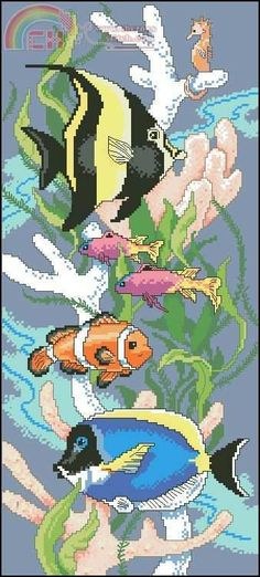 ` Cross Stitching, Cross Stitch Embroidery, Embroidery Patterns, Peyote Stitch Patterns, Cross Stitch Charts, Crochet Fish, Rainy Day Crafts, Arts And Crafts Furniture, Cross Stitch Collection