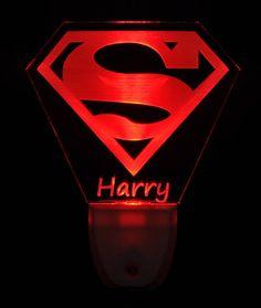 Cool 3D Led Dc Superman Batman Logo S/ímbolo Luz De Noche L/ámpara De Mesa De Escritorio 7 Cambio De Color Linterna Usb Rgb Controler Toy Kids Regalo