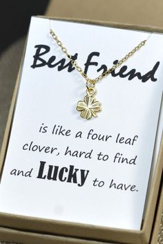 Four Leaf Clover Necklace,Best Friend Gift,Christmas Gift,Shamrock Necklace,Gold,silver,necklace ,Birthday Gift,best friend necklace on card on Etsy, $25.99