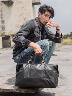 "Black Leather Mens 16"" Weekender Bag Travel Shoulder Bag Black Luggage – imessengerbags"