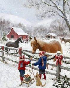 Christmas Scenery, Noel Christmas, Christmas Animals, Country Christmas, Christmas Pictures, Vintage Christmas, Christmas Decor, Christmas Gifts, Illustration Noel