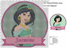 disney princess Jasmine cross stitch pattern cushion