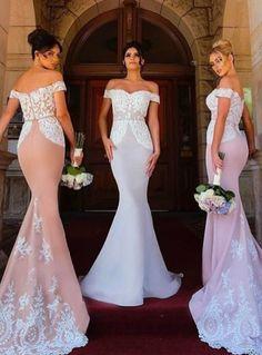 b6bb67871c8 Mermaid Bridesmaid Dress Long Bridesmaid Dress Gorgeous Lace Appliques  Princess Wedding