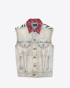 SAINT LAURENT Sleeveless Jean Jacket In Light 80'S Blue Denim. #saintlaurent #cloth #
