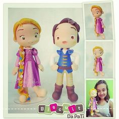 Amo esses bonecões :) Minhas versões de Rapunzel e Flynn Rider ♡  #rapunzel #flynnrider #flynn #disneyprincess #disney #princesa #joguemesuastrancas #tangled #enrolados #porcellanafredda #coldporcelain #biscuitdapati #biscuit #porcelanafria #airdryclay #massinhademodelar