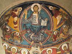 Los frescos del ábside y del preábside de la iglesia de San Clemente de Tahull en Lérida, siglo XII. Paradigma de la pintura mural románica por su iconografía …