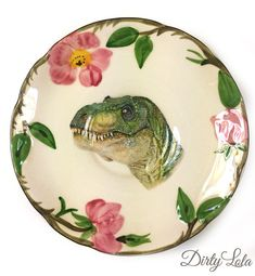 Vintage - Illustrated - Dinosaur - T Rex - SMALL Plate - Upcycled - Wall Display - China - Floral - Altered - Antique Plate