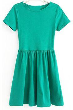 Round Neck Pleated Slim Green Dress 9.99
