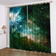 Green Galaxy Curtain Galaxy Printing Curtains Any Sizes