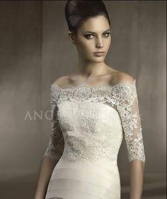 Lace Off the Shoulder Half Sleeves Wedding Jacket