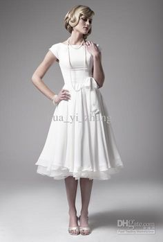 Wholesale 2011 Vintage 50s' Iris Destination Wedding Dresse A-Line Tea Length Short Sleeve Chiffon Bridal Gown, Free shipping, $104.64-115.0/Piece | DHgate