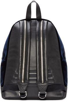 Balmain Black Leather & Velvet Backpack