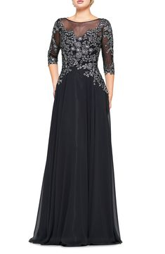 Silver blooms capture the magic of a midnight stroll on this long and flowy chiffon dress with sheer sleeves and neckline. Style Name:Marsoni Metallic Lace & Chiffon A-Line Evening Gown. Style Number: Available in stores. Chiffon Evening Dresses, Formal Evening Dresses, Lace Chiffon, Chiffon Dress, Evening Gowns, Prom Dress, Mother Of Groom Outfits, Black And Silver Dress, Best Wedding Guest Dresses