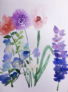 Study of wildflowers Floral Watercolor, Watercolour, Wildflowers, Art Work, Design Art, Study, Plants, Painting, Pen And Wash