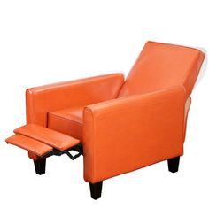 Lucas Orange Leather Recliner Club Chair - http://www.furniturendecor.com/lucas-orange-leather-recliner-club-chair/