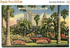 SALE View from Bayfront Park Miami Florida vintage by NinskaPrints