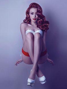 容祖兒 joey yung hong kong pop star so hot *v* reminds me of rihanna :) rocking red retro hair and red lips