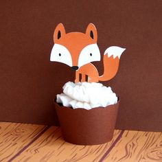 Fox Cupcake Toppers Woodland Creatures Burnt by PaperPartyParade