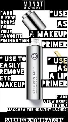 Use Monat Rejuvenique Oil with some of your favorite products! Add a few drops to your body wash or lotion for soft supple skin. To order: SaraReed.mymonat.com