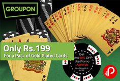 Only Rs.199 for a Pack of Gold Plated Cards – @groupon . Get the pack of gold plated card worth Rs.499 only in Rs. 199.   http://www.paisebachaoindia.com/only-rs-199-for-a-pack-of-gold-plated-cards-groupon/