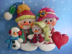 Polymer Clay Christmas Ornament Snow Family by alongcameaspider1, $12.50