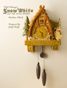 Snow White Cottage Cuckoo Clock by Jody Daily Coo Coo Clock, Disney Bedrooms, Cool Clocks, Disney Home Decor, White Cottage, Cottage Door, Hand Carved, Carved Wood, Kids Room