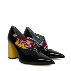 Black patent pumps with 85MM yellow patent heel and