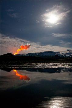Eruption at Fimmvorduhals, Iceland, by Gunnar Gestur Geirmundsson.