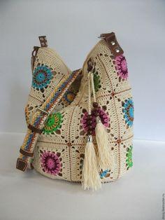 Купить вязаная сумка-торба, бабушкин квадрат - белый, абстрактный, сумка женская, сумка вязаная