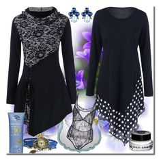 """""""Polka Dot Long Sleeve Tee-25"""" by ane-twist ❤ liked on Polyvore featuring Bobbi Brown Cosmetics"""