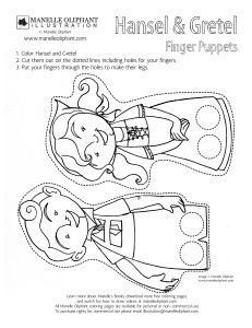 Free Coloring page Friday: Hansel and Gretel Finger Puppets - Manelle Oliphant Illustration Fairy Tale Crafts, Fairy Tale Theme, Fairy Tales, Snow White Coloring Pages, Free Coloring Pages, Hansel Y Gretel, Traditional Tales, Thinking Day, Book Week