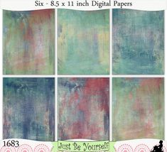 Instant Download Distressed Painted Backgrounds Digital Papers Set of 6 - 8.5 x 11 inch Printable Sheets JPEG & PDF Blue Red Yellow (1683)