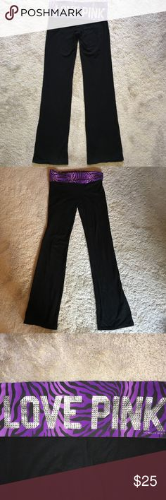 """PINK   Purple Zebra Print Yoga Pants, Small Victoria's Secret PINK, Purple Zebra Print Yoga Pants with Rhinestones. They are a size small. These are previously used and have some light signs of wear, but nothing major. All of the rhinestones in the """"LOVE PINK"""" are there and they have no rips or tears or anything like that. PINK Victoria's Secret Pants Leggings"""