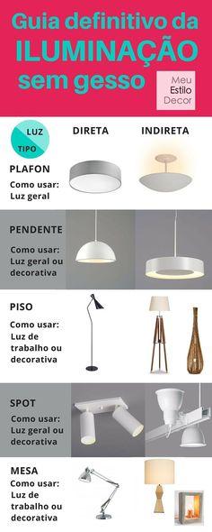Economize na iluminação da sua casa eliminando o forro de gesso. Conheça o Guia Definitivo da Iluminação sem Gesso e veja que luminárias usar e como.